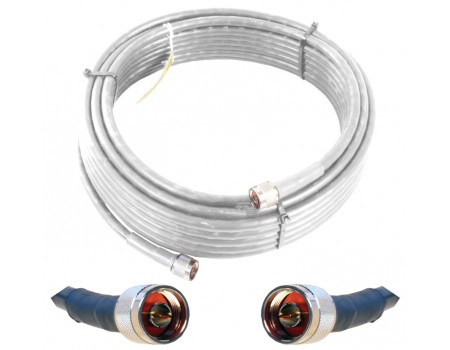Wilson 952420 20' White WILSON400 Ultra Low Loss Coax Cable with N-Male Connectors